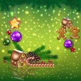Saluto di celebrazione con l'albero di Natale ed i fiocchi di neve immagini stock libere da diritti