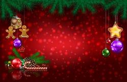 Saluto di celebrazione con l'albero di Natale ed i fiocchi di neve immagine stock