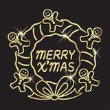 Saluto di celebrazione di festa di Buon Natale con la corona dell'uomo di pan di zenzero royalty illustrazione gratis