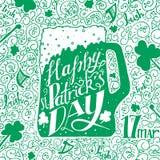 Saluto di giorno della st Patricks Giorno della st Patricks dell'iscrizione Illustrazione di vettore Tazza di birra, acetosella Fotografia Stock Libera da Diritti