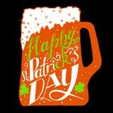 Saluto di giorno della st Patricks Giorno della st Patricks dell'iscrizione Illustrazione di vettore Tazza di birra, acetosella Immagini Stock