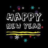 Saluto di nuovo anno felice Arte tipografica bianca di vettore Fotografie Stock Libere da Diritti