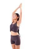 Saluto di pratica del sole di yoga della donna attiva, allungante esercizio Immagine Stock
