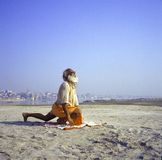 Saluto di Sadhu Sun Fotografie Stock