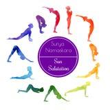 Saluto di Sun di yoga Immagini Stock