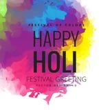 Saluto felice di festival di Holi, celebrazione di Holi, progettazione di vettore Immagini Stock