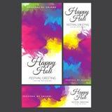 Saluto felice di festival di Holi, celebrazione di Holi, progettazione di vettore Immagine Stock Libera da Diritti