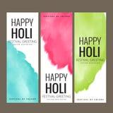Saluto felice di festival di Holi, celebrazione di Holi, progettazione di vettore Fotografie Stock