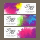 Saluto felice di festival di Holi, celebrazione di Holi, progettazione di vettore Fotografia Stock Libera da Diritti