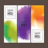 Saluto felice di festival di Holi, celebrazione di Holi, progettazione di vettore Immagini Stock Libere da Diritti