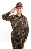 Saluto femminile del soldato Fotografia Stock