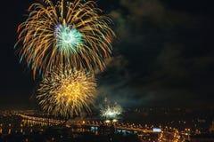 Saluto festivo sul ponte di Chernavsk in onore del giorno della città nel 2017 Immagine Stock Libera da Diritti