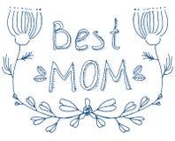 Saluto floreale blu della migliore mamma di scarabocchio Fotografie Stock Libere da Diritti