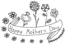 Saluto floreale del nero felice di festa della Mamma di scarabocchio Fotografia Stock Libera da Diritti