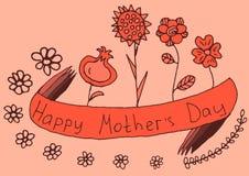 Saluto floreale rosso di festa della Mamma felice Fotografia Stock Libera da Diritti