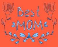 Saluto floreale rosso e blu della migliore mamma Fotografie Stock