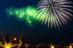 Saluto, fuochi d'artificio Fotografie Stock