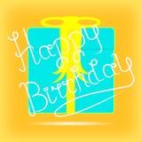 Saluto giallo di compleanno del modello illustrazione di stock