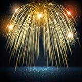 Saluto luminoso del fuoco d'artificio con effetto del bokeh Fotografia Stock Libera da Diritti