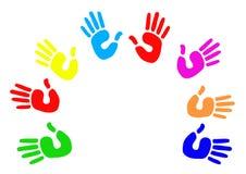 Saluto Multicoloured del cerchio della palma Fotografie Stock