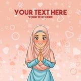 Saluto musulmano della donna con le mani d'accoglienza royalty illustrazione gratis