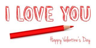 Saluto scritto a mano del biglietto di S. Valentino di vettore Fotografia Stock Libera da Diritti