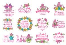 Saluto spagnolo di giorno di madre illustrazione di stock