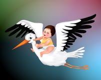 Saluto sveglio della cicogna e del bambino, cartolina d'auguri sveglia del ragazzo, cicogna, illustrazione del bambino del bambin immagine stock libera da diritti