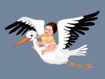 Saluto sveglio della cicogna e del bambino, cartolina d'auguri sveglia del ragazzo, cicogna, illustrazione del bambino del bambin royalty illustrazione gratis