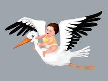 Saluto sveglio della cicogna e del bambino, ragazzo sveglio, cartolina d'auguri, cicogna, illustrazione del bambino del bambino,  royalty illustrazione gratis