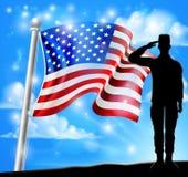 Salutować żołnierz flaga amerykańskiej Patriotycznego projekt ilustracja wektor