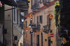 Saluzzo old town area. Piemonte, Italy. Street view Royalty Free Stock Photos