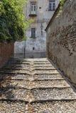 Saluzzo, Piemonte, Italië, historische stad stock foto's