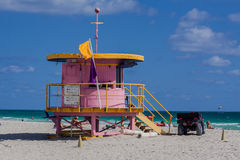 Salva-vidas Cabin Miami Beach Florida Foto de Stock Royalty Free
