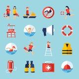 Salva-vidas Icons Set Imagens de Stock Royalty Free