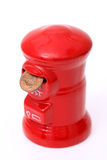 Salvadanaio della posta con la moneta Immagini Stock Libere da Diritti