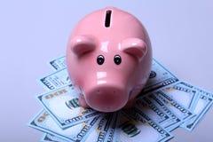 Salvadanaio di stile del porcellino salvadanaio su fondo con le banconote in dollari dell'americano cento dei soldi Fotografie Stock Libere da Diritti