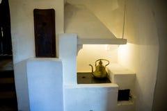 Salvado, Rumania - 19 de noviembre de 2016: Interior del castillo de Drácula Está entre varias ubicaciones ligadas al Drácula Fotos de archivo libres de regalías