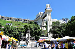 Salvador, Bahía, el Brasil 27 de febrero de 2013: El elevador de Lacerda Imagen de archivo libre de regalías