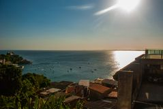 SALVADOR, BAHIA, BRAZIL: Beautiful landscape with sea view in the city. Sao Salvador da Bahia de Todos os Santos, South America royalty free stock images