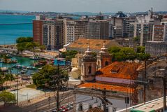 SALVADOR, BAHIA, BRAZIL: Buildings of Classical architecture in the city center. Sao Salvador da Bahia de Todos os Santos, South America royalty free stock photo