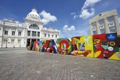 Salvador Bahia Brazil Colorful Sign photos stock