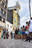 People are going to celebrate Carnival in Salvador Bahia, Brazil. Salvador Bahia, Brazil - February 11th, 2018: People are waitiing on the long line to take the Stock Photos