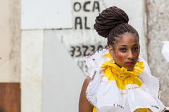 Carnival celebration at Pelourinho in Salvador Bahia, Brazil. Salvador Bahia, Brazil - February 12th, 2018: Portrait of a woman reveler at the UNESCO-recognized Royalty Free Stock Photos