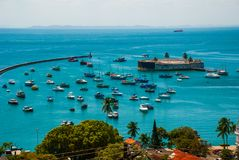 SALVADOR, BAHIA, BRAZIL: Fort of San Marcelo in Salvador Bahia. Top view of the port city of Salvador. SALVADOR, BAHIA, BRAZIL: Fort of San Marcelo in Salvador stock photo