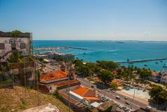 SALVADOR, BAHIA, BRAZIL: Top view from Lacerda elevator against the blue sky. South America royalty free stock image