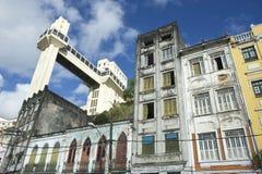 Salvador Brazil City Skyline from Cidade Baixa. Salvador Brazil city skyline with Lacerda Elevator and dilapidated old Bahia architecture Stock Image