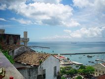 Salvador Brazil city skyline view with Fort San Marcel, Elevador Lacerda and Bay of All Saints. Baia de Todos os Santos royalty free stock image