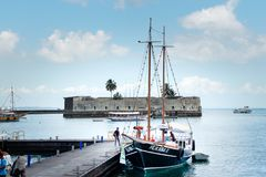 Fort San Marcelo and Bay of All Saints royalty free stock photo