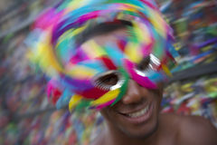 Salvador Carnival Samba Dancing Brazilian Man Smiling in Colorful Mask Stock Images